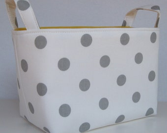Storage and Organization - Fabric Basket Container Bin - White with Gray Polka Dots