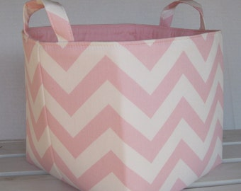 READY TO SHIP - Fabric Organizer Bin Toy Storage Container Basket - Light Pink/ White Chevron  - 8 x 8 x 8