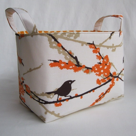 Reversible Fabric Organizer Bin Basket - Almond Sparrows - Aviary