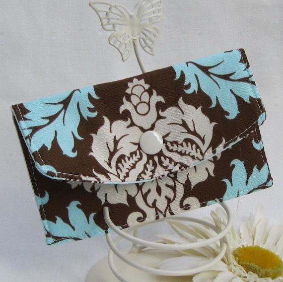 Mini Wallet - Business Card  Case - Brown Blue Cream Damask