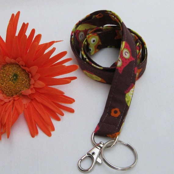 LANYARD ID BADGE Key Holder - Tossed Owls on Brown