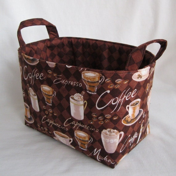 Fabric Storage Basket Container Organizer Bin - Coffee - Java - Espresso - Latte