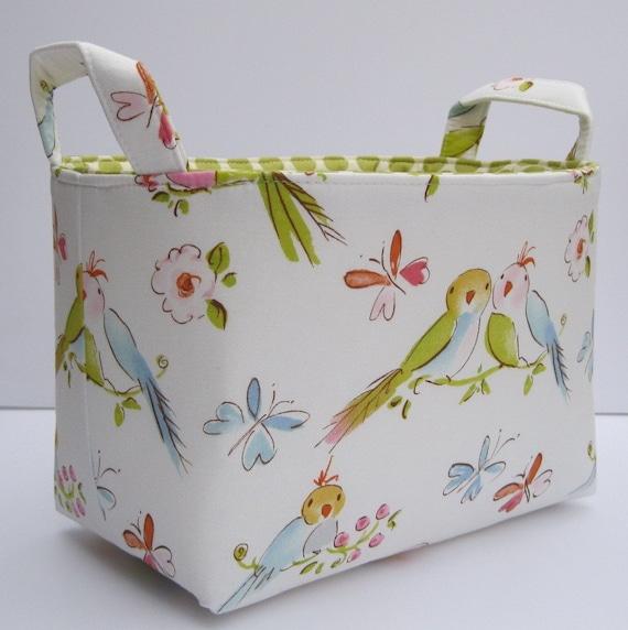 Storage Fabric Organizer Bin Container Basket - Lovebirds in Ivory - Dena Designs Leanika