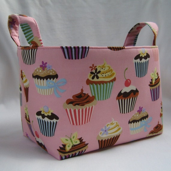 Storage Organization Fabric Organizer Container Bin Basket - Pink Cupcakes
