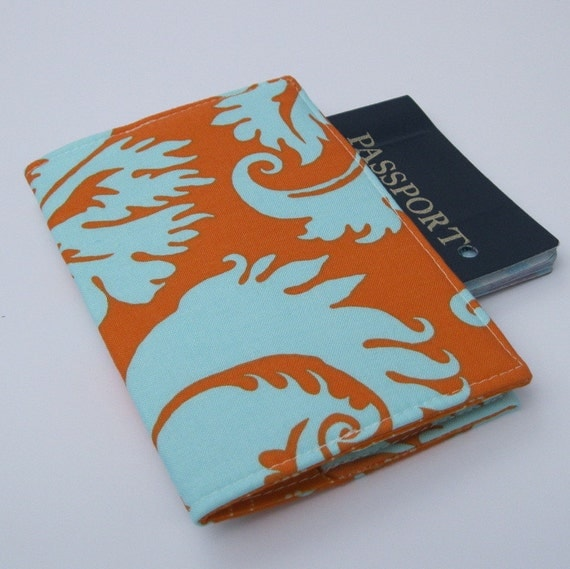 Passport Cover - Turquoise Blue - Tangerine Orange Duck Egg Acanthus