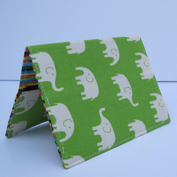 Passport Fabric Case Cover Holder - Cream Elephants on Lime Green