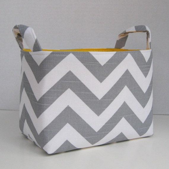 Storage Basket Desk Organizer Container Basket Bin - Gray White Chevron Zigzag Fabric - Choose the Inside/ Lining Fabric