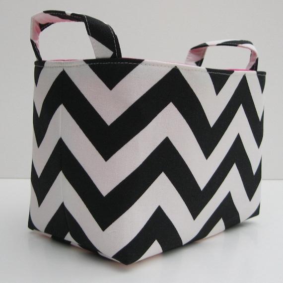 Fabric Organizer Bin Storage Container Basket  - Black and White Chevron Fabric