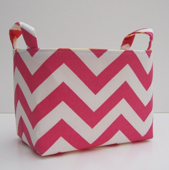 SALE / CLEARANCE / Inventory Reduction - Storage Container Basket Fabric Organizer Bin - Dark Pink and White Chevron