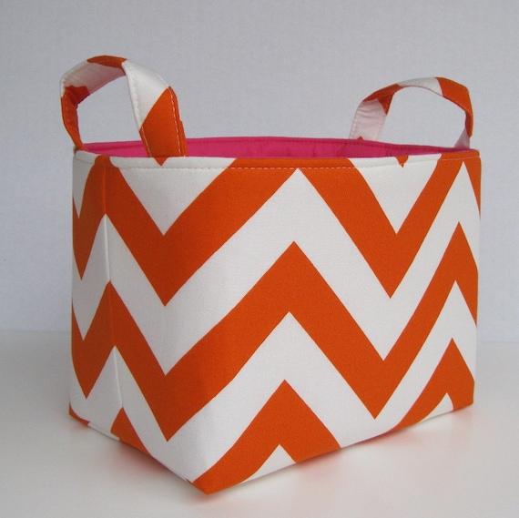 Desk Organizer Storage Organization Container Fabric Basket Bin - Tangerine Orange and White Chevron