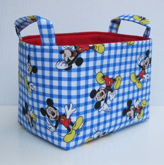 Fabric Storage Bin Basket Container - Made with Mickey Mouse Fabric