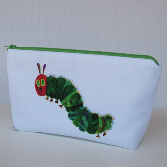Fabric Zippered Pouch Clutch Bag - Very Hungry Caterpillar Fabric -
