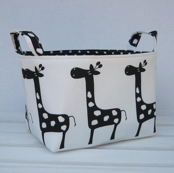 Fabric Basket Organizer Storage Bin Container - Gisella Giraffe - Black on White