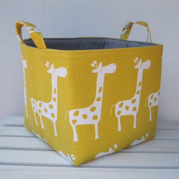 Yellow Slub - White Gisella Giraffe Fabric Organizer Bin Toy Storage Container Basket - New Design - 8 x 8 x 8
