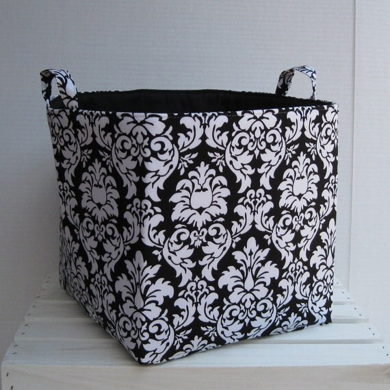 Fabric Organizer Bin Toy Laundry Jumbo Storage Container Basket -Black/ White Dandy Damask - New Design -  11 x 11 x 11