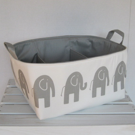 Diaper Caddy Storage Container Organizer Bin Basket - Nursery Baby Room Decor - Gray Ele Elephant on White Fabric - Dividers Divider