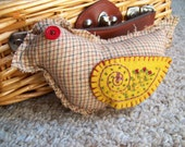 Country Plaid Bird with felt embroidered wings