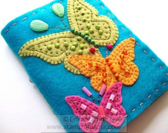 Beaded Butterlies felt covered journal - handmade - MADE TO ORDER