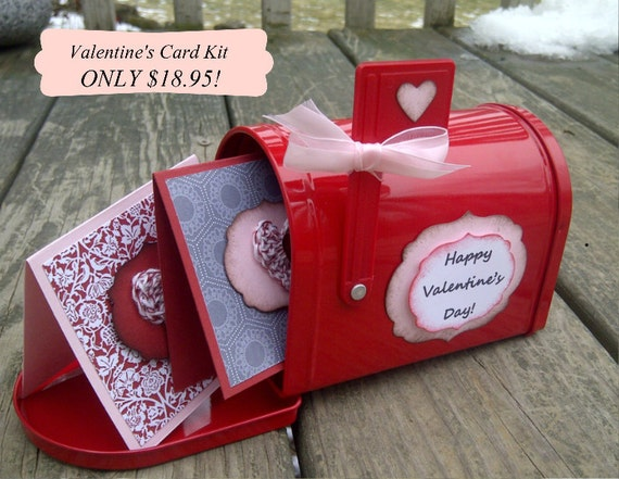 Valentine's Card Kit - crocheted hearts and mailbox