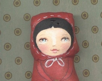 Lil Lovee.. .Little Rachel Riding Hood Primitive Folk Art ORIGINAL ooak by BB