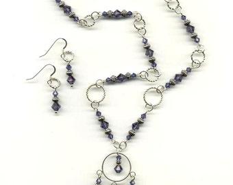 Sapphire Swarovski Crystal Necklace Set