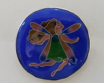 Cloisonne Enamel Button With A Sweet Little Fairy