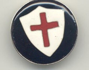 Collector Buttons Crusader Cross in Cloisonne Enamel Button Pure Silver Wire and Sterling Silver Backing and Bezel Cup Loop Fastener