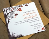 Autumn Tree Wedding Invitation set with RSVP and envelopes