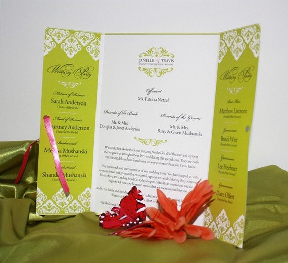 Gatefold Wedding Programs in Damask - You choose the colors - Nellia Designs