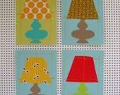 Fabric Lamp Greeting Card Set