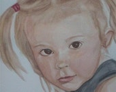 SALE Custom Watercolor Portrait  9.5 x 12.5  of Child