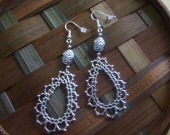SALE! Silver Floral Filigree Open Teardrop Hoop Earrings