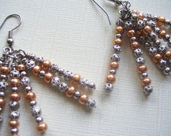 SALE! Silver Metal Bead Tassel Earrings