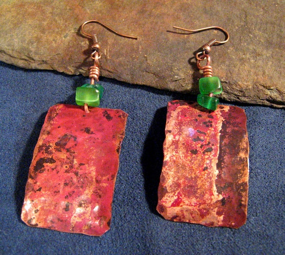 Copper and Sea Glass Earrings with Hammered Vintage Patina