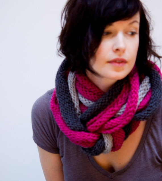 loop scarf - gray and magenta pink super soft