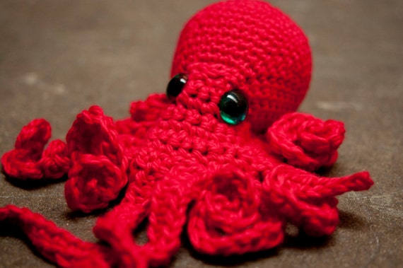 red octopus friend -- soft cotton plush toy