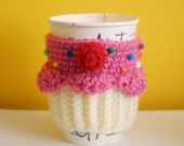 Cupcake Coffee Cup Cozy/Sleeve (Strawberry/Vanilla)