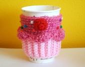 SALE - Cupcake Coffee Cup Cozy/Sleeve (Strawberry/Strawberry)