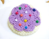 SALE - Frosted Sugar Cookie Brooch and Hair Clip in Lavender Purple