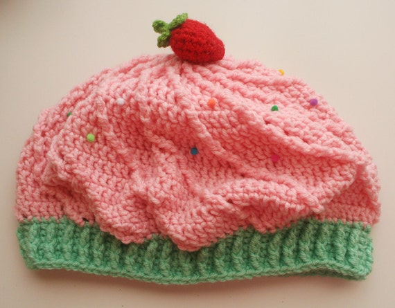 Cupcake Slouchy Beret Hat - Light pink and mint green with strawberry on top
