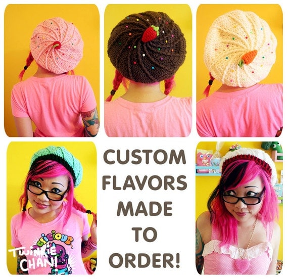 CUSTOM Cupcake Slouchy Beret Hat - choose your own flavor - made to order