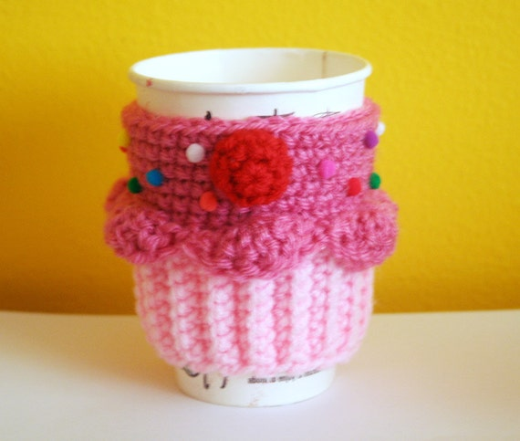 SALE - Cupcake Coffee Cup Cozy/Sleeve (Strawberry/Strawberry)