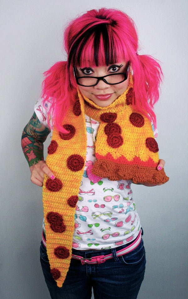 Free Crochet Pattern Bacon Scarf : Pepperoni Pizza Scarf Made to Order by TwinkieChan on Etsy