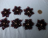 7 Vintage Rhinestone Patches Fall Snowflake Brown Purple gLaM Iron On Sew on Lot
