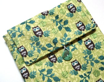 Padded iPad Sleeve - Kindle DX Sleeve - Tablet Sleeve - Owl - Mercer Street by Hoffman Fabrics - Ready to Ship