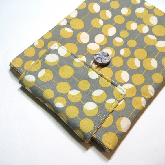 Padded iPad Sleeve - Kindle DX Sleeve - Tablet Sleeve - Amy Butler Mustard Martini - Grey and Yellow - Ready to Ship