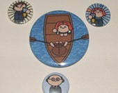 Set of 4 Kawaii Chibi X Files Pin Button Badges Set One Movie Special
