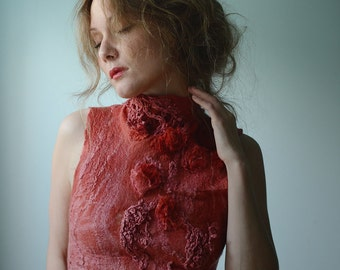Eco fashion top  Nuno felted top in red from natural silk and wool dyed with plants OOAK