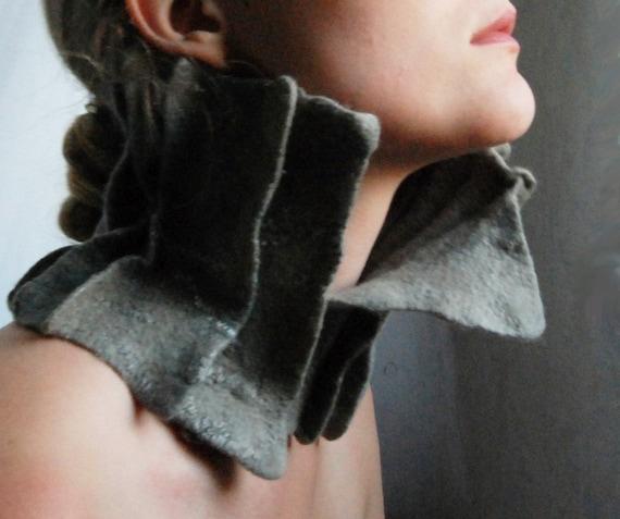 Eco Felted collar \/ scarflette \/ neckwarmer - Empress of Blueberry Dreams OOAK