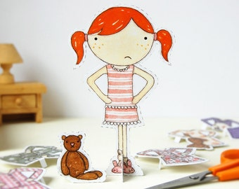Clara Paper Doll - Dress-up Doll - The Bedtime Outfits - Postcard Paper Toy